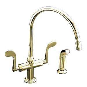 kohler brass kitchen faucets kohler essex single 2 handle standard kitchen faucet in vibrant polished brass k 8763 pb