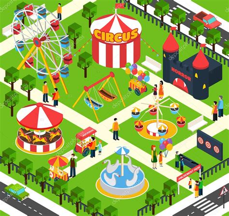 theme park maker download amusement park isometric stock vector 169 macrovector