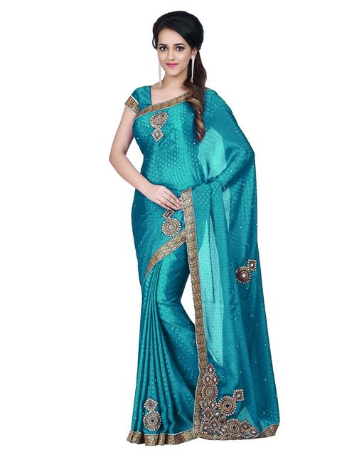 B5050 Blue by Sareeshop Designer Sarees Blue Satin Saree Buy Sareeshop