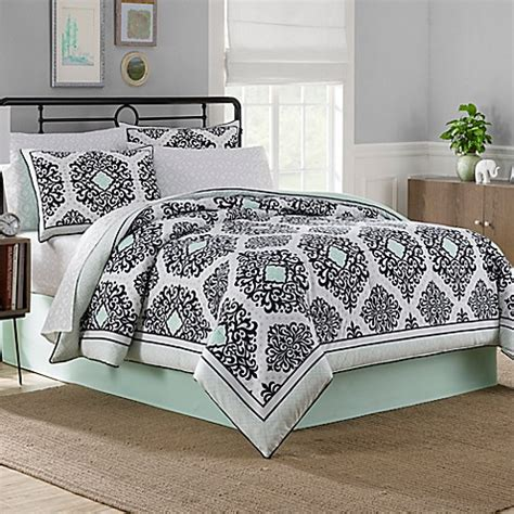 bed bath and beyond white comforter cooper reversible comforter set in black white mint bed