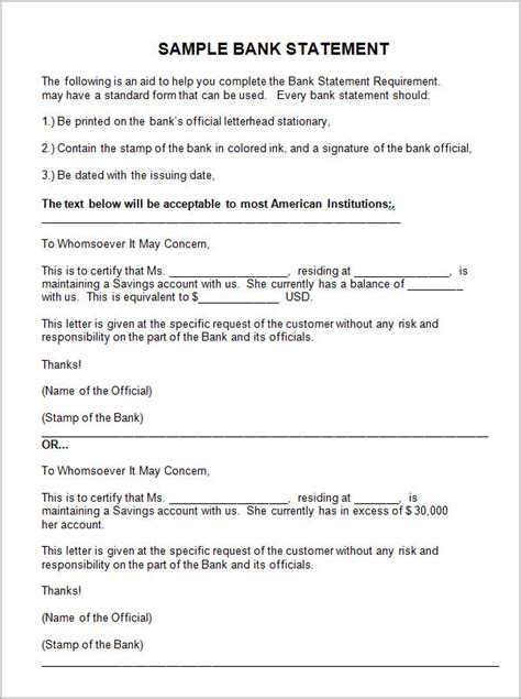 Bank Letter Format For Us Student Visa Sle Bank Statement Template 13 Free Documents In Pdf Word Excel