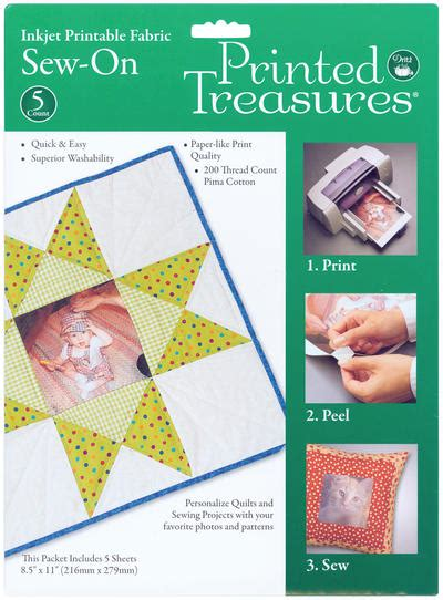 dritz printable fabric sheets printed treasures sew on ink jet fabric sheets white 8 1 2