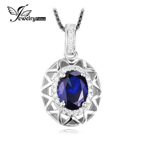 Cincin 3 5ct Blue Sapphire Fashion 925 Silver Wedding Engagemen aliexpress buy jewelrypalace unique design 1 5ct created blue sapphire pendant 925