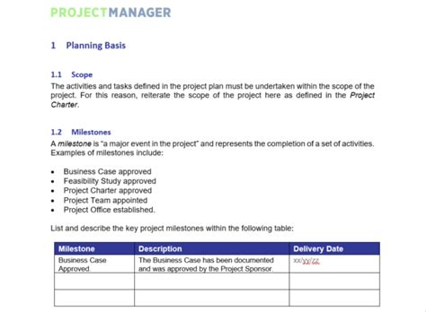 project plan template projectmanagercom