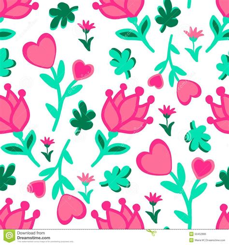 love pattern background vector cute seamless floral love doodles pattern hearts leaves