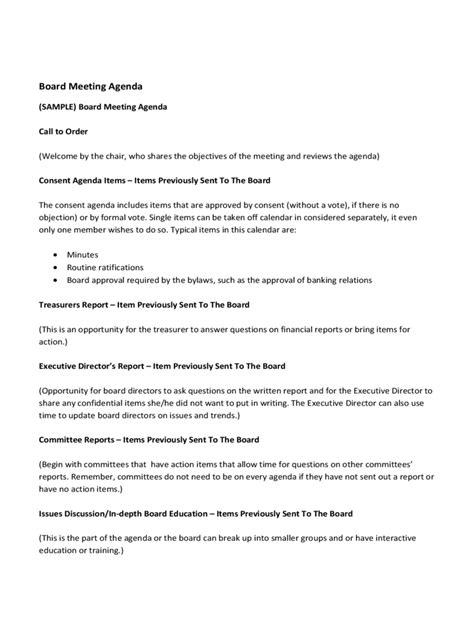 Board Meeting Agenda Template   7 Free Templates in PDF