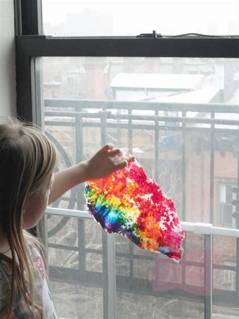 kids craft wax paper rainbow art hgtv