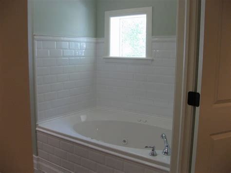 tile trim around bathtub might want to use white subway tile around the master bath