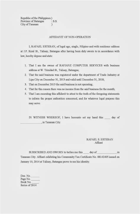 Affidavit Of Non Operation Business Sle Filesishare Business Affidavit Template