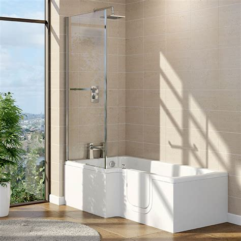 1700 x 800 x 700 solarna l shape walk in shower bath