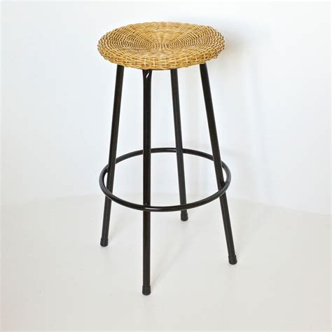 High Wicker Bar Stools by Vintage High Wicker Bar Stool From Rohe Noordwolde 1950s