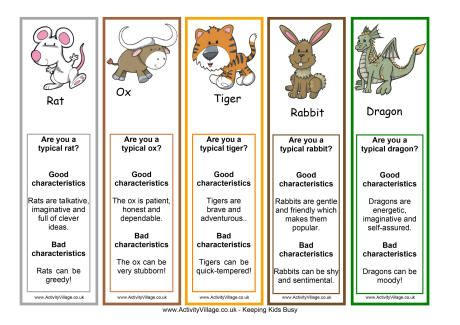new year animal characteristics printable zodiac bookmarks