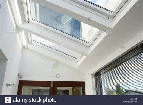 automatic house windows automatic velux windows in conservatory of new open plan house stock photo royalty