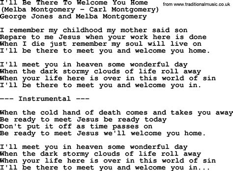 i ll be there to welcome you home by george jones