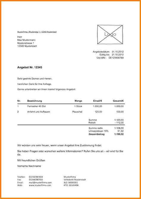 Angebot Projektmanagement Muster 5 Schriftliches Angebot Muster Lesson Templated