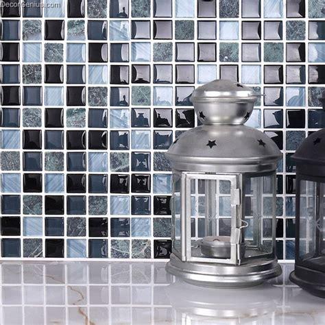 maxed color kitchen backsplash glass tile hot sale popular glass black navy blend color 8mm wall mosaic tile kitchen