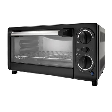 Toaster Oven With Auto Slide Out Rack Shop Euro Pro 4 Slice Black Toaster Oven With Auto Shut