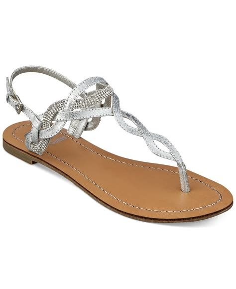 sandals guess g by guess s karolee flat sandals in metallic