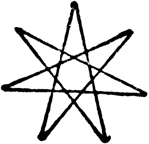 Drawing 7 Point by Seven Point Heptagram Clipart Etc