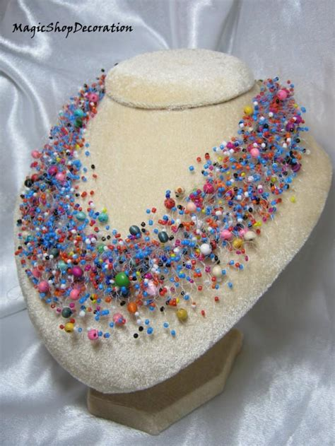 Handmade Wedding Jewellery - multicolor beaded necklace jewelry handmade jewellery