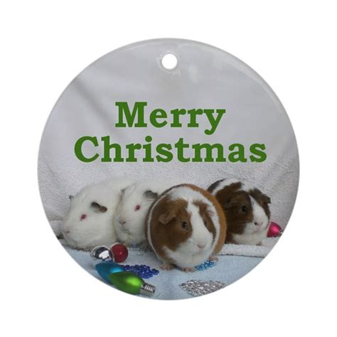 guinea pig christmas ornament round by purpleplanet