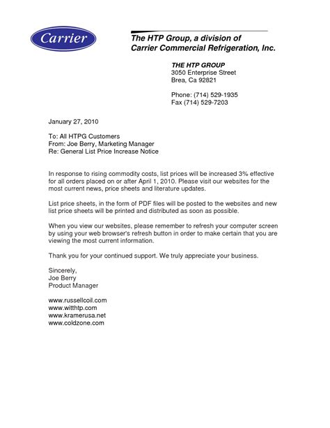 business letter template price increase best photos of customer notification letter templates