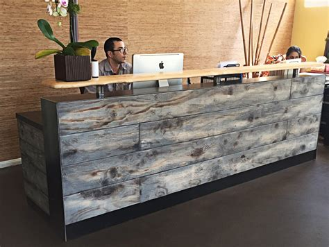 reclaimed wood front desk buy a hand made 8 reclaimed distressed wood reception