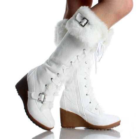 winter white high heel boots white suede fur winter lace up wedge high heel womens mid