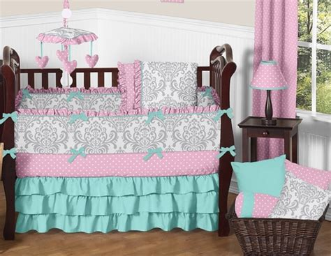 Pink And Turquoise Crib Bedding Pink Gray And Turquoise Skylar Baby Bedding 9pc Crib Set By Sweet Jojo Designs Only 189 99