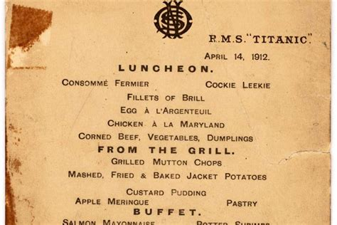 titanic menu high seas history menu for last lunch on titanic up for