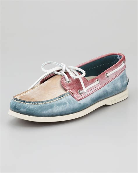 sperry white washed boat shoe sperry top sider tricolor white washed boat shoe in blue