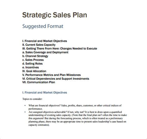 strategic planning sle report sales plan template 8 free word pdf documents downoad