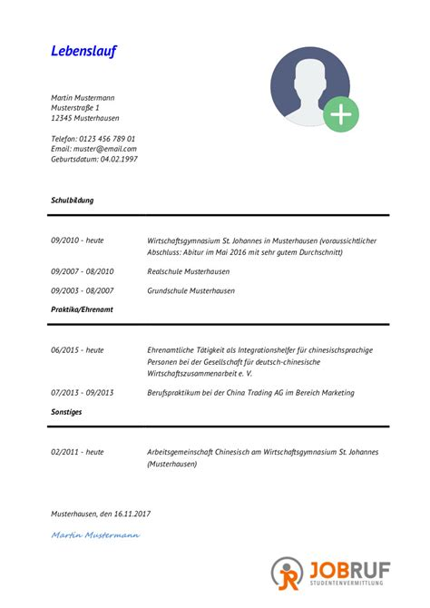 Lebenslauf Studium Muster by Lebenslauf F 252 R Ein Duales Studium Jobruf