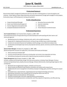 Resume Template On Project Management Resume Sles 2016 Sle Resumes