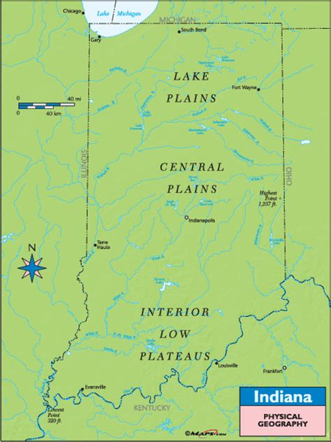 physical map of indiana indiana physical geography map by maps from maps
