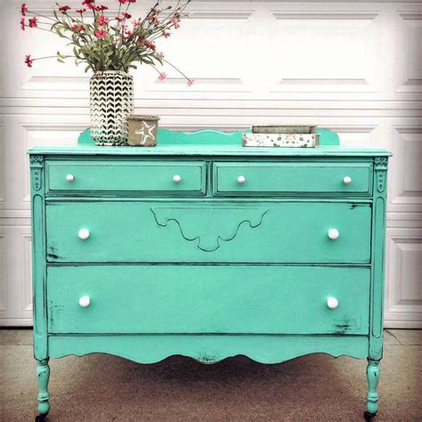 Custom Mixed Turquoise Dresser General Finishes Design Shabby Chic Green Paint