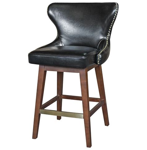 Bar Stools Black Leather by Dancy Masculine Black Leather Tufted Swivel