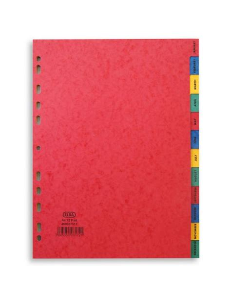 Elba Sorter Book A4 Tabs elba a4 divider january december pressboard 400007517 office supplies files pockets binders