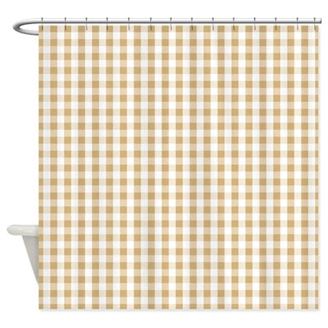 White Curtains With Brown Pattern Light Brown White Gingham Pattern Shower Curtain By Clipartmegamart