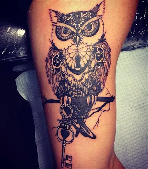 owl tattoo with key meaning owl tattoos for men inspiration and gallery for guys