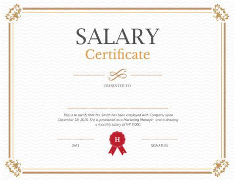 salary certificate template printable salary certificate templates free