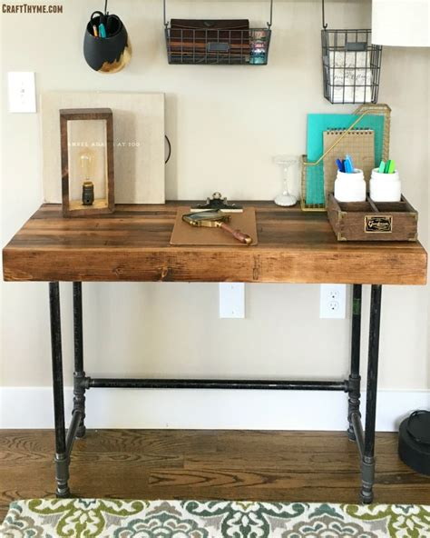black iron pipe desk building a custom industrial wooden desk craft thyme