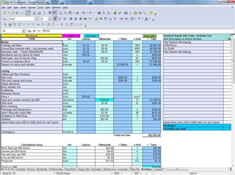 estimating spreadsheet template spreadsheet templates for