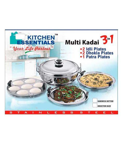 kitchen essentials induction idli steamer kadai royal 2 idli plates kitchen essentials stainless steel induction idli steamer kadai price