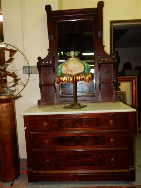 dresser top mirror antique marble top dresser with mirror cond vg cannot ship