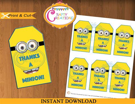 free printable minion christmas gift tags minions party favor tags despicable me minions