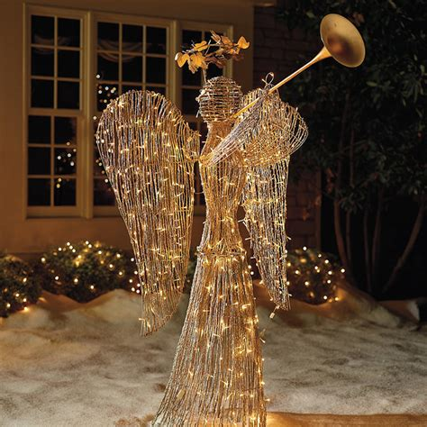 lighted rattan trumpet angel outdoor christmas