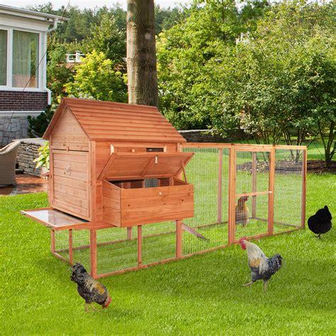 Backyard Chicken Supplies Pawhut Large Backyard Chicken Coop W Run