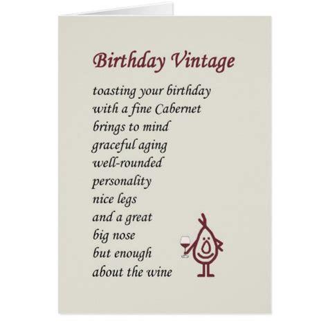 Birthday Card Poems For Birthday Vintage A Funny Birthday Poem Card Zazzle