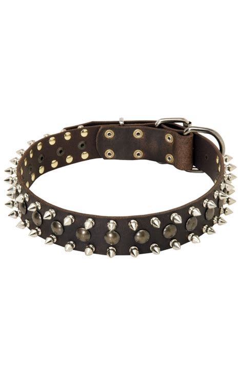 awesome collars spiked leather collar with awesome decoration mill store